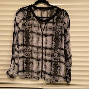 Ro & De printed chiffon shirt, size small
